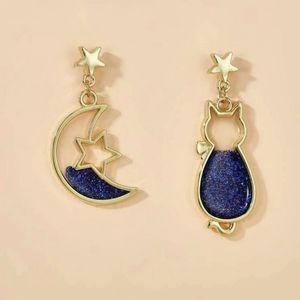 Gold star moon cat glitter drop earrings